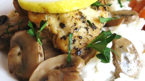 Baked Lemon Chicken with Mushroom Sauce