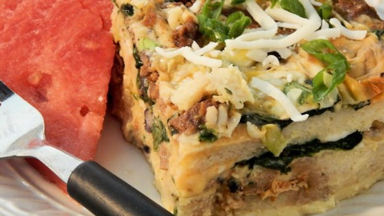 Photo of Cheesy Brunch Strata with Soy Sausage and Spinach by kristenekane