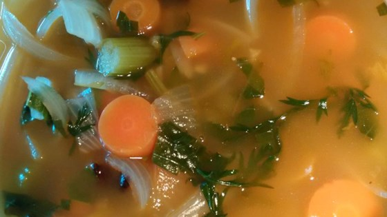 Photo of Vegan Carrot-Top Vegetable Soup by Tamara A