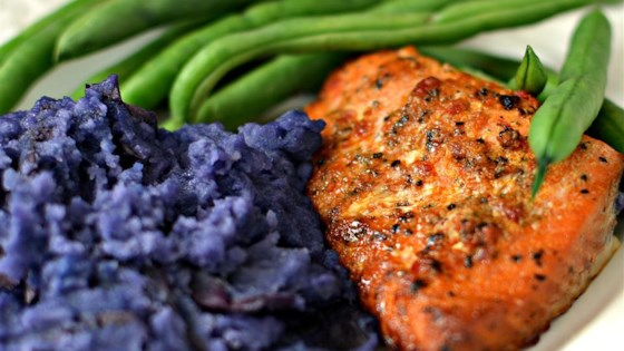 Photo of Carrie's Salmon with Purple Pureed Potatoes and French Green Beans by Carrie Portman