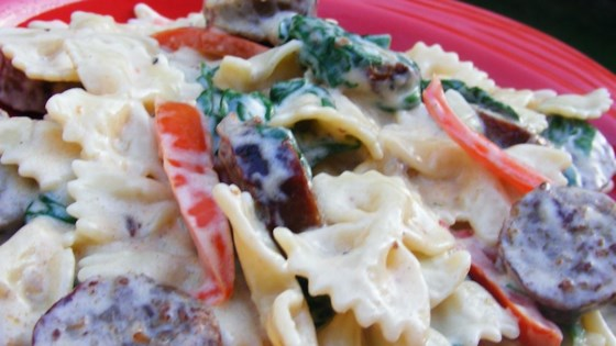 Photo of Sausage and Bow-Tie Pasta Florentine by PAMELINA77