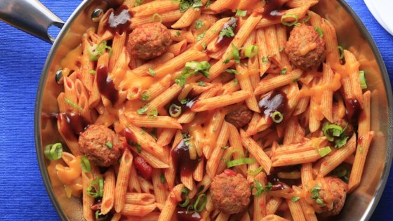 Simple Smoky Penne and Meatballs