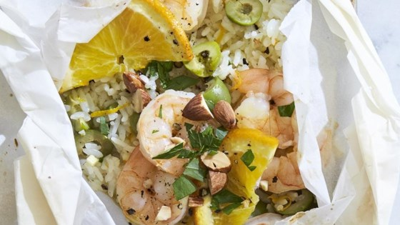 Photo of Shrimp and Rice Packets with Olives and Oranges by Molly Gilbert