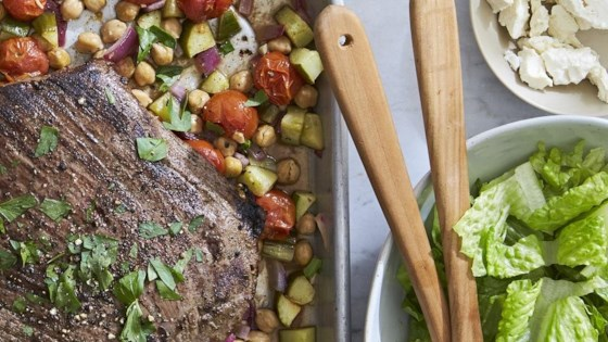 Photo of Greek Flank Steak and Veggie Salad by Molly Gilbert