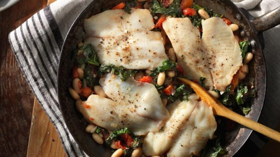 Photo of Tilapia with White Beans and Kale Skillet by Hunt's