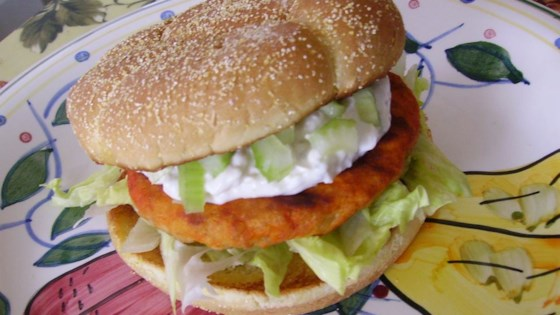 Photo of Buffalo Chicken Burgers with Blue Cheese Dressing by Melissa Sweet