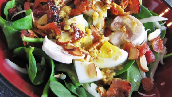 Photo of Spinach Salad with Warm Bacon-Mustard Dressing by brightlightz