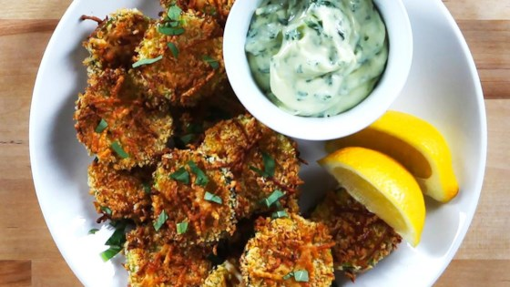 Photo of Lemon Parmesan Zucchini Chips with Basil Aioli by Stella Cheese