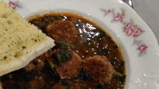 Italian Spinach Soup with Meatballs