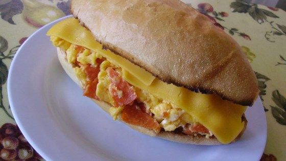 Photo of Scrambled Egg and Pepperoni Submarine Sandwich by JAYEAST