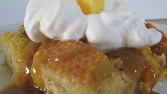 Photo of Peachy Bread Pudding with Caramel Sauce by jowolf2