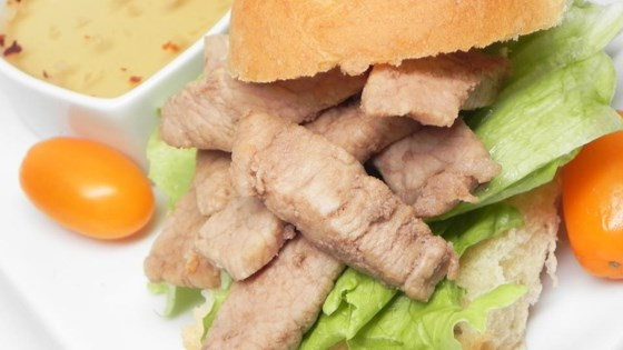 Photo of Marsala Pork Chop Sandwich with Hot and Sweet Dipping Sauce by SCHUYLERT.