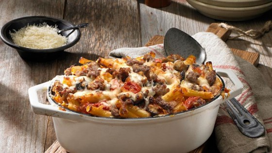 Photo of Baked Ziti with Johnsonville Italian Sausage by From the Kitchen at Johnsonville Sausage