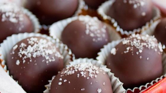 Photo of Salted Dark Chocolate Hazelnut Caramel Truffles by MariaTheSoaper