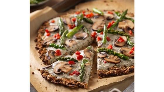 Cauliflower Crust Pizza with Garlic Coconut Cream Sauce