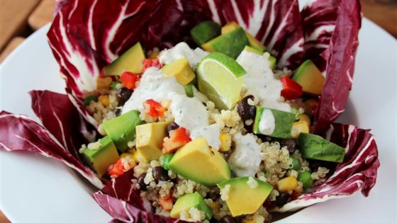 Photo of Vegan Mexican Quinoa Bowl with Green Chile Cilantro Sauce by Mackenzie Schieck