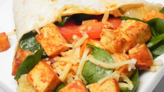 Spicy Baked Tofu and Spinach Wrap