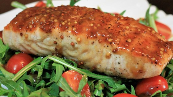 878a38c62667 Apricot Mustard-Glazed Salmon with Arugula Recipe - Allrecipes.com