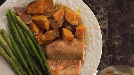 Photo of Salmon With Scalloped Sweet Potatoes by USA WEEKEND columnist Jean Carper