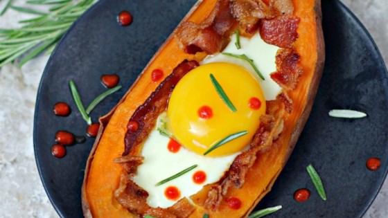 Photo of Bacon Egg Stuffed Sweet Potato by Culinary Envy