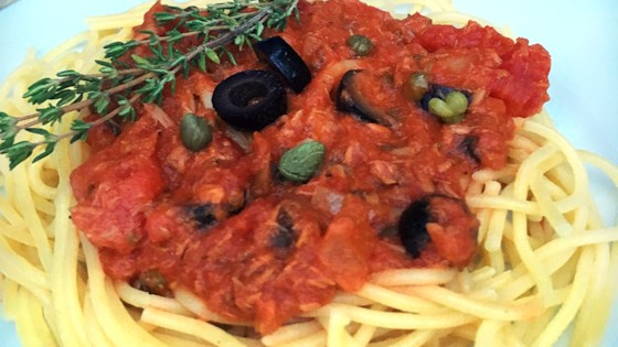 Photo of Nana's Tuna Puttanesca Sauce with Spaghetti Pasta by Diana71