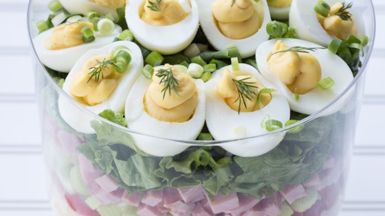Layered Deviled Egg Pasta Salad Recipe