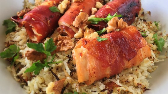 Herby Cauliflower Rice with Pecans and Candied Bacon-Wrapped Chicken