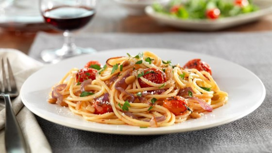 Photo of Barilla® Gluten Free Spaghetti with Caramelized Red Onions and Whole Cherry Tomatoes, Pine Nuts and Pecorino Cheese by Barilla Canada