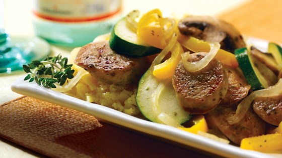 Photo of Garlic Chicken Sausage and Summer Vegetable Saute by al fresco