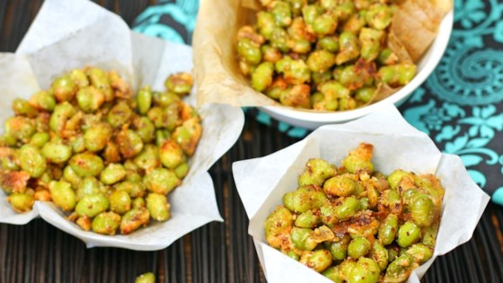 Photo of Crispy Baked Parmesan Garlic Edamame by Culinary Envy