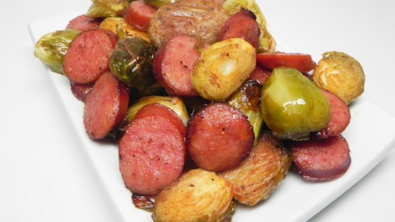 Photo of Roasted Brussels Sprouts and Kielbasa by Tallgirl6234