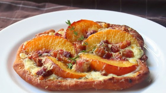 Photo of Fried Peach and Pancetta Pizza by Chef John