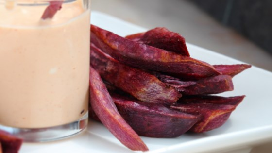 Photo of Air-Fried Purple Yam Fries with Sour Cream Sriracha Sauce by Buckwheat Queen