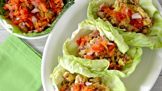 Photo of Corned Beef and Cabbage Leaf Wraps with Carrot Salsa by bd.weld