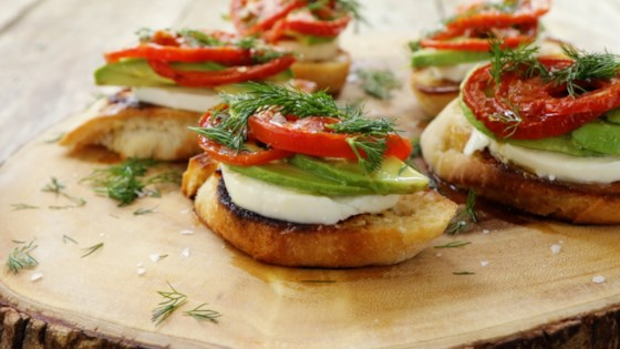 Photo of Roasted Tomato, Avocado, and Fresh Mozzarella Crostini by Julie Hubert