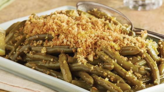 Lemon-Garlic Green Beans with Crispy Crumbs