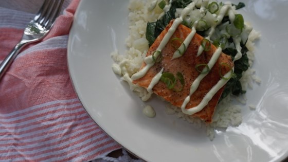 Photo of Pan-Seared Salmon with Wasabi Dressing and Bok Choy by Dara