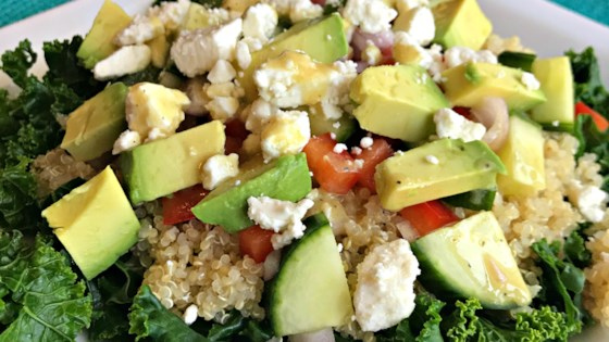 Photo of Kale, Quinoa, and Avocado Salad with Lemon Dijon Vinaigrette by Stephanie Ford