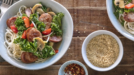 Photo of Asian Noodle Bowl with Sausage and Kale by Farmland Foods