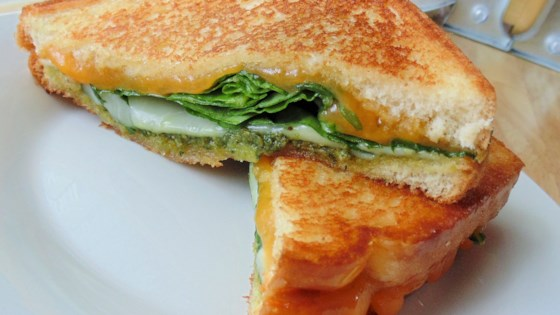 Photo of Pleasing Gourmet Grilled Pesto Cheese Sandwiches by lisamarie78