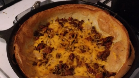 Photo of Herb, Sausage, and Cheese Dutch Baby by SpoonForkBacon