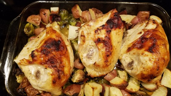 Photo of Pan-Roasted Chicken with Lemon-Garlic Brussels Sprouts and Potatoes by LAMBR