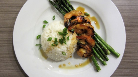 Photo of Grilled Teriyaki Prawns with Asparagus and Coconut Rice by Julie Hubert