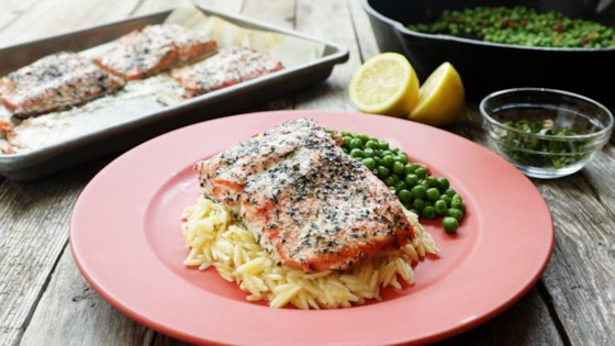 Photo of Baked Salmon with Lemony Orzo and Basil-Bacon Peas by Julie Hubert