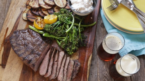 Photo of Grilled Steak with Blue Cheese, Potatoes, and Broccolini by Julie Hubert