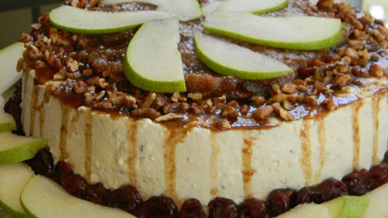 Photo of Savory Blue Cheese Cheesecake with Cherry Pear Compote and Cherry Balsamic Glaze by Baking Nana