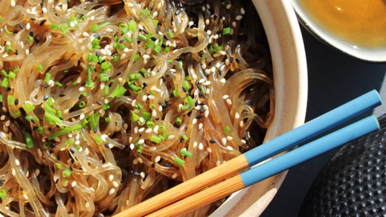 Yummy korean glass noodles jap chae recipe allrecipes photo of yummy korean glass noodles jap chae by sarahandthecity forumfinder