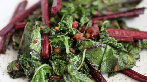 Photo of Beet Greens and Kale Sauteed with Bacon and Garlic by elk137