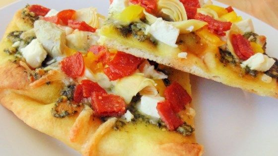 Photo of Artichoke, Pesto, and Garlic Naan Bread Pizza by CindyAhGoGo