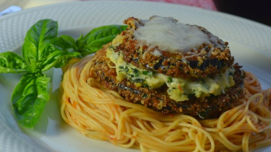 Photo of Panko and Beer Battered Eggplant Parmesan Stacks by rini1621